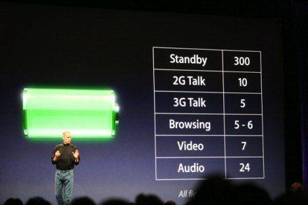 Steve Jobs presentando un nuevo modelo de batería