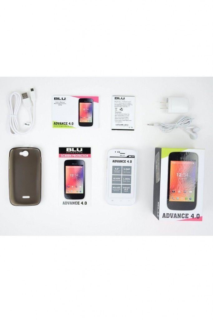 Smartphone BLU Advance 4.0 con todos sus accesorios