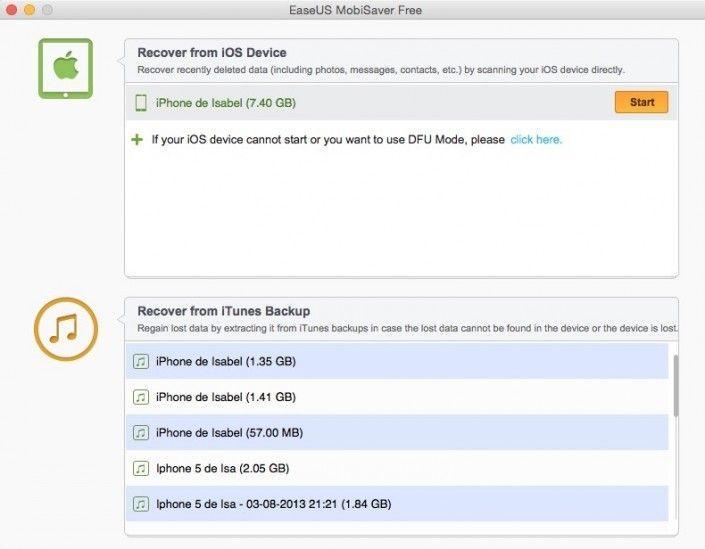 EaseUS MobiSaver permite restaurar y respaldar datos iOS