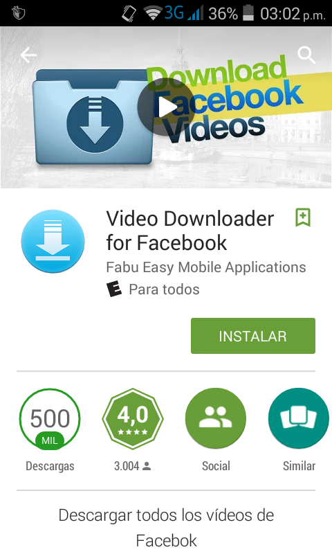 Buscamos la aplicación Video Downloader for Facebook en Google Play