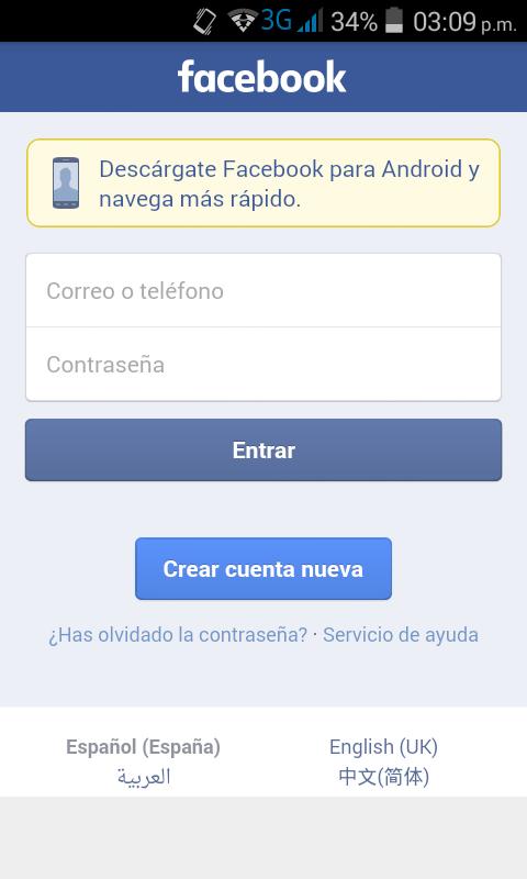 Al abrir la aplicación nos pedirá iniciar sesión en Facebook.