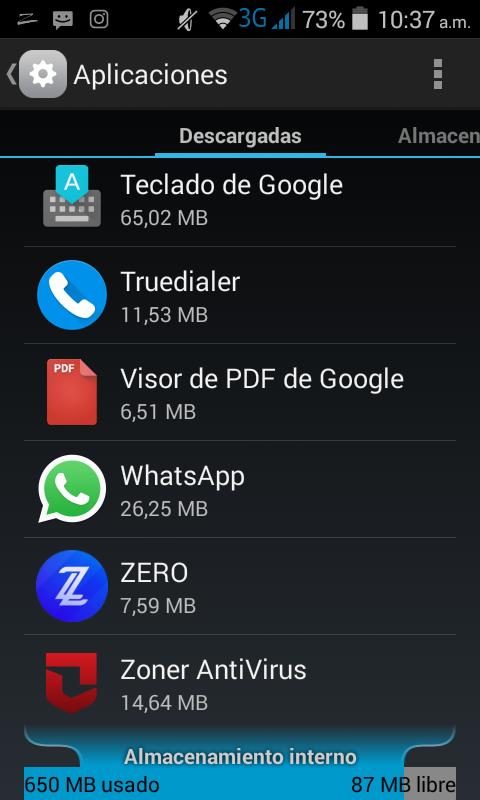 Zero Launcher consume tan solo 7,59 MB de almacenamiento y 35 MB de RAM