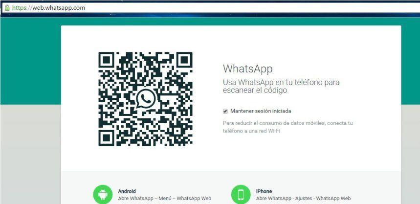 Ventana principal de Whatsapp Web.