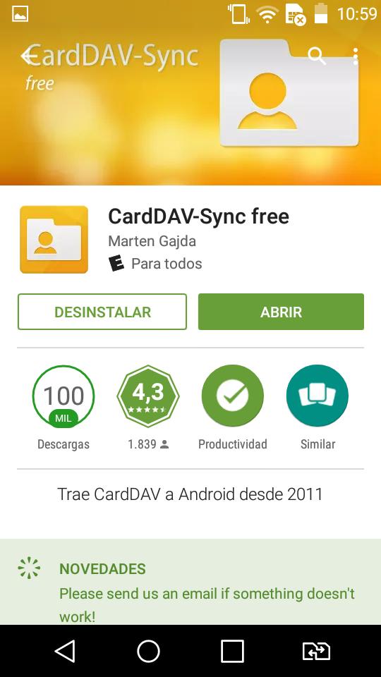 Descargamos CardDAV-Sync free desde la google play.