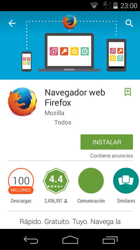 Descargamos Firefox desde la Google Play