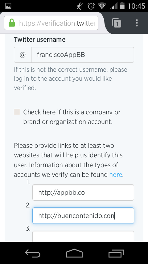 Escribimos 2 o 3 paginas que ayuden a Twitter a verificar la cuenta.