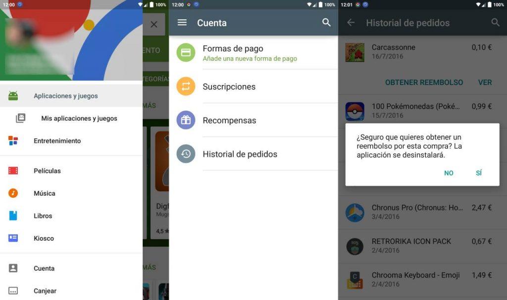 En el historial de pedidos de la Google Play podemos solicitar el reembolso del dinero de aplicaciones devueltas en las primeras 2 horas