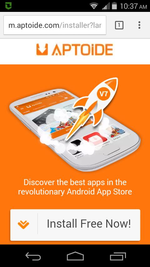 Descarga Aptoide desde su web móvil, a través de tu explorador.
