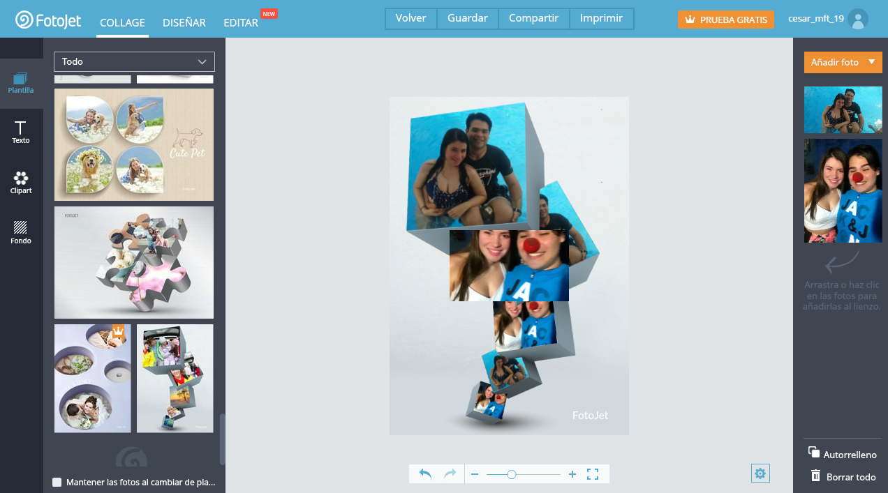 Juega con sus diseños de collage y has una imagen nueva para mostrar a tus amigos.