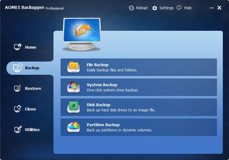 Backup menú con el cual puedes elegir el tipo de archivo.