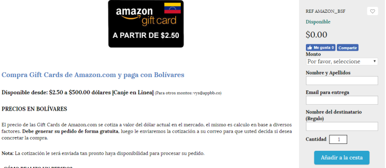 amazon gift cards con bolivares