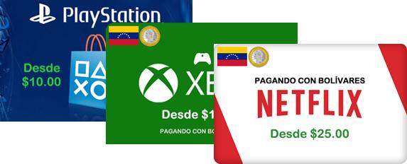 comprar suscripciones de netflix, playstation y xbox con bolivares