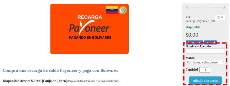 compra y venta de saldo Payoneer con bolivares