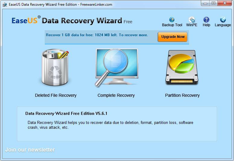 Con sus dos principales opciones recuperación completa o particiones es el inicio del programa.