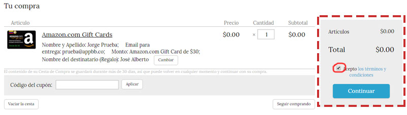 amazon gift card con bolivares