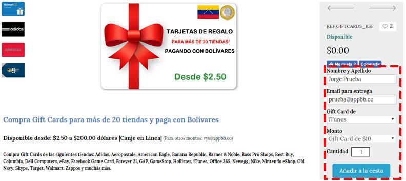 Gift Cards de Google Play y de otras tiendas con bolivares