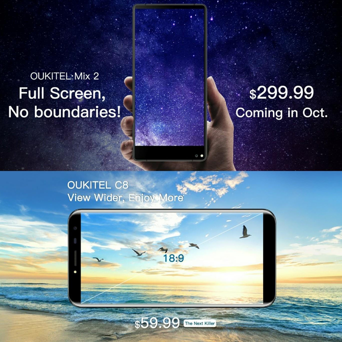 Oukitel Mix 2 y C8 dos nuevos Smartphones sin marcos para este año