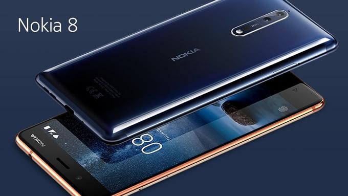 Nokia 8 junto a 3 cámaras de 13MP