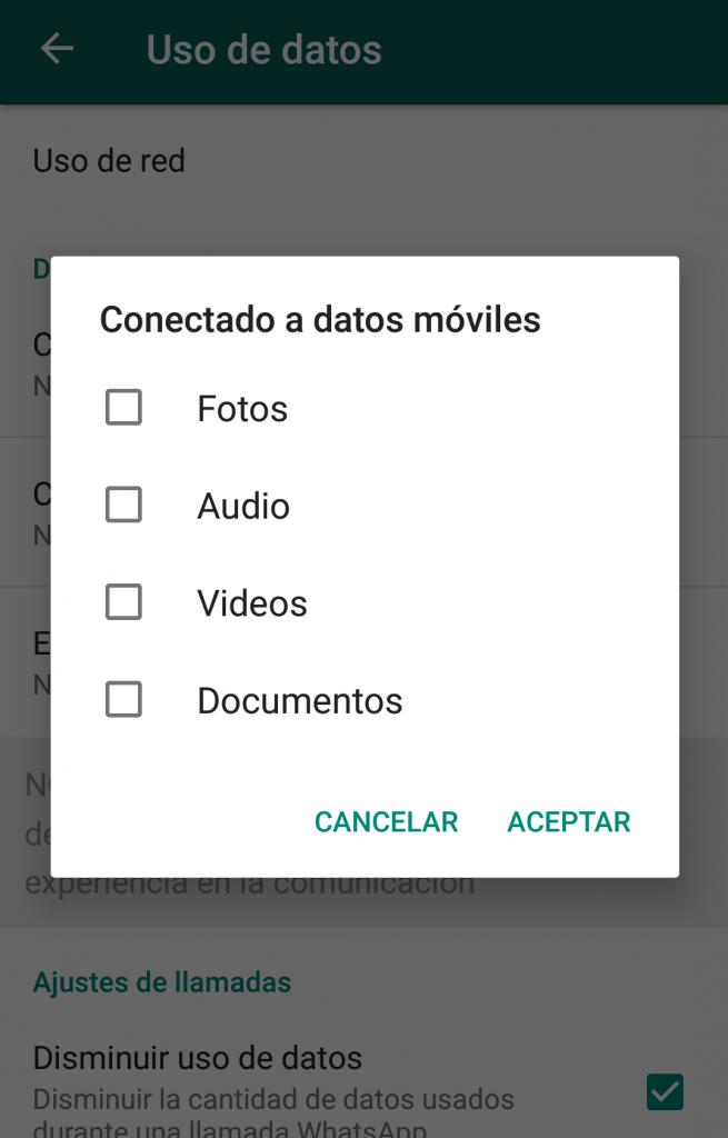 Problemas con los datos móviles en Whatsapp