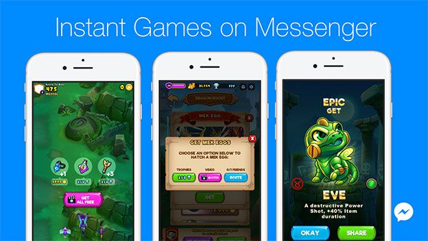 Instant Games on Facebook Messenger retransmisión en vivo de sus videojuegos