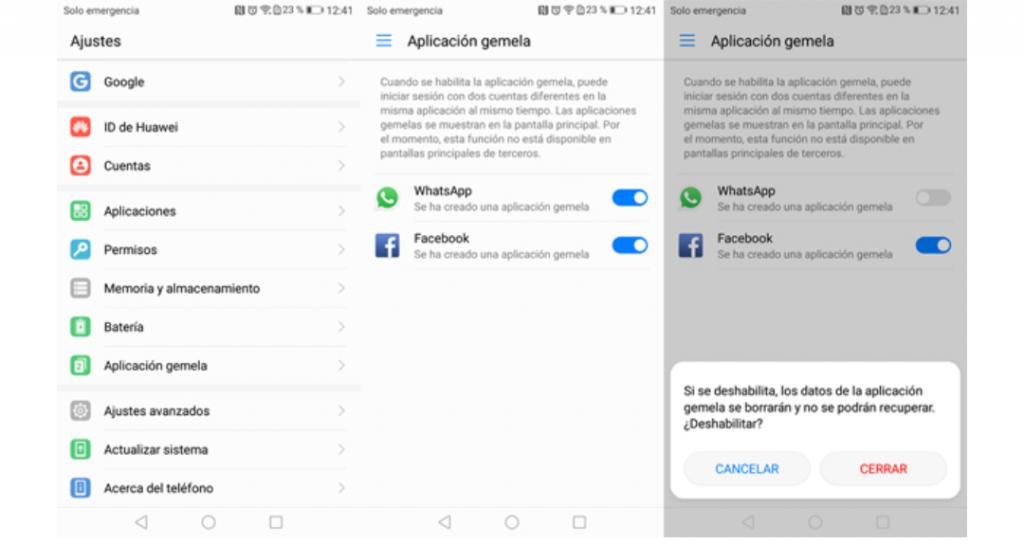 Huawei la Aplicación gemela en su gama de Smartphones